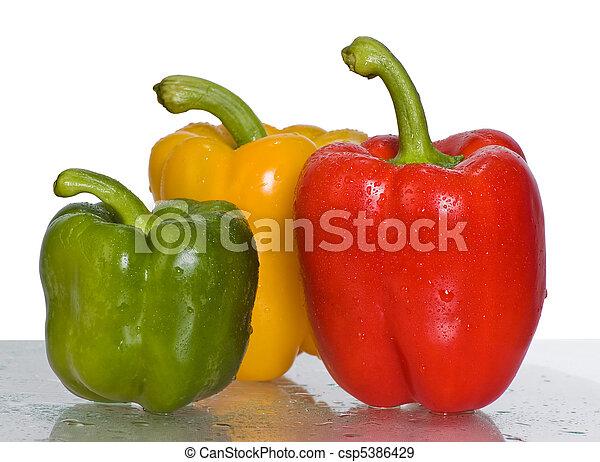 peppers.three, fondo., bianco, peperoni - csp5386429