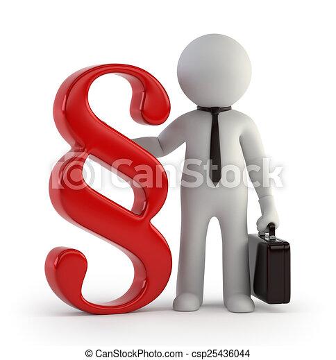 pequeño, 3d, -, abogado, gente - csp25436044