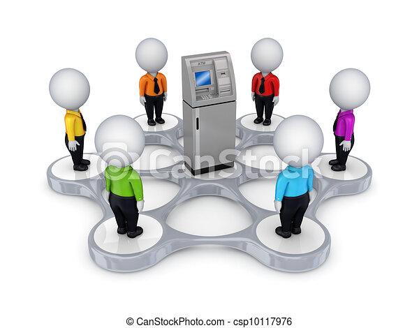 3D personas pequeñas alrededor del cajero automático - csp10117976