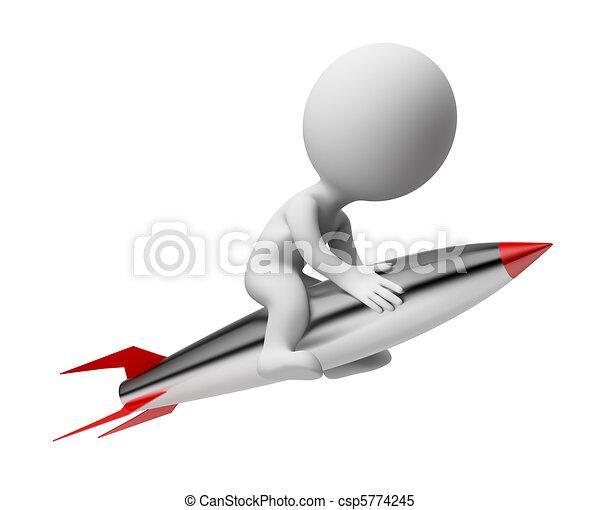 3d gente pequeña - cohete - csp5774245