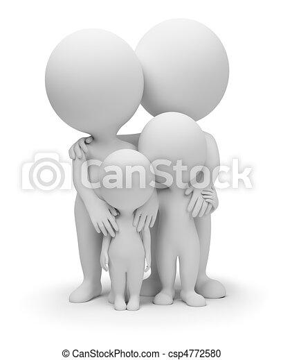 pequeño, 3d, -, familia , gente - csp4772580