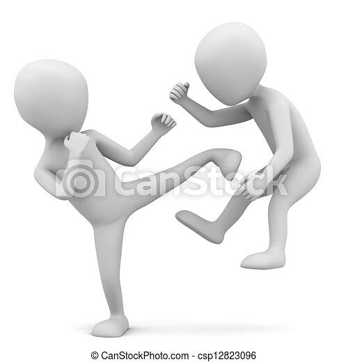 3 pequeñas personas peleando. - csp12823096