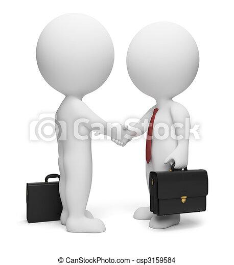 pequeño, 3d, -, hombres de negocios, gente - csp3159584