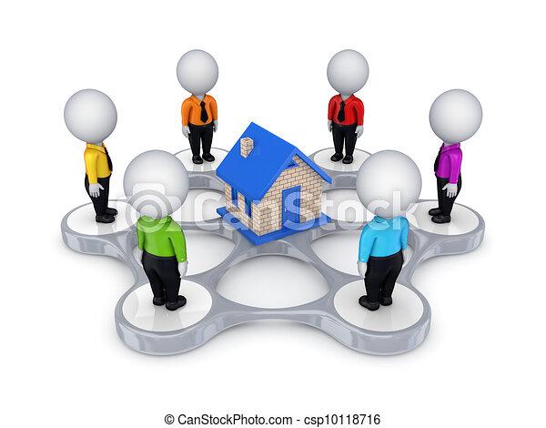3D personas alrededor de la casa pequeña. - csp10118716