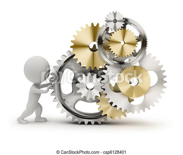 pequeño, 3d, -, mecanismo, gente - csp6128401