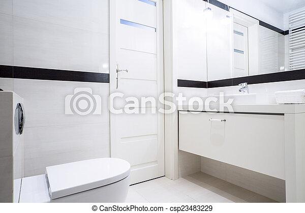 Pequeño, blanco, negro, cuarto de baño. Cuarto de baño, mobiliario ...