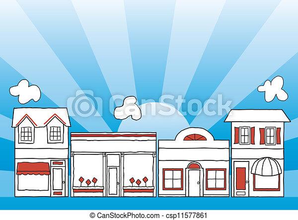 Pequeña calle principal de negocios - csp11577861