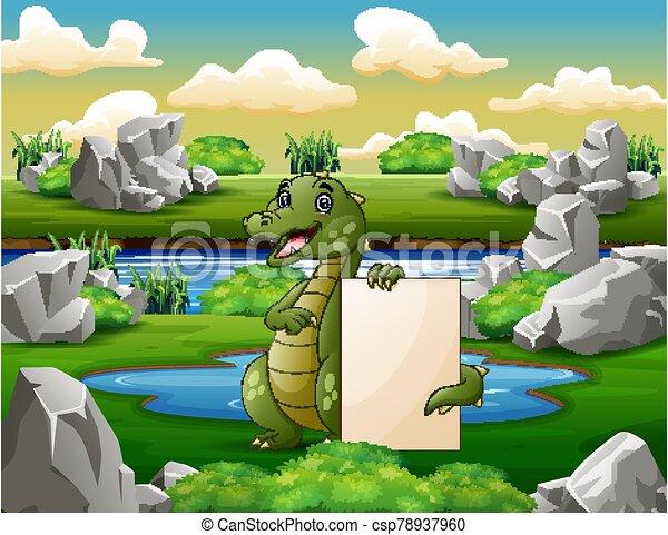 pequeño, cocodrilo, charca, señal, blanco, tenencia - csp78937960
