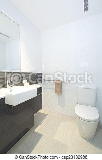 Pequeño, cuarto de baño, moderno. Cuarto de baño, moderno, fregadero ...