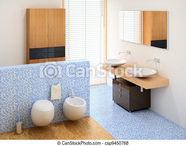 Un baño pequeño y moderno, incluyendo vestuario, lavabos y ...