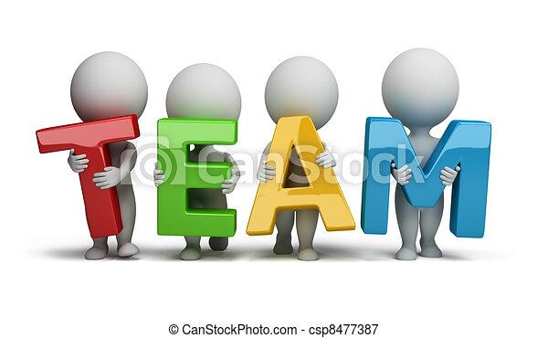 3d gente pequeña - equipo - csp8477387