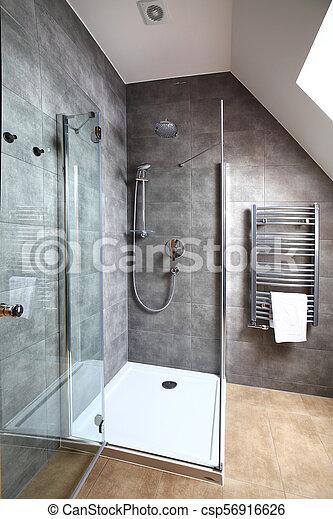Pequeño, interior, cuarto de baño, moderno, limpio. Cuarto ...