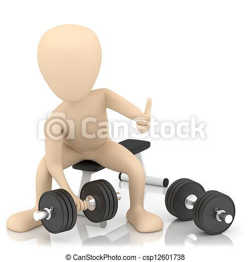 Una persona pequeña de 3D levanta pesas. - csp12601738