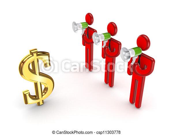 Señal de dólar y gente pequeña en 3D. - csp11303778