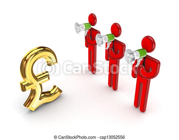 Señal de dólar y gente pequeña en 3D. - csp13052556