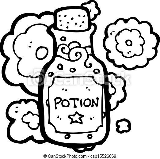 pequeño, poción, caricatura, botella - csp15526669