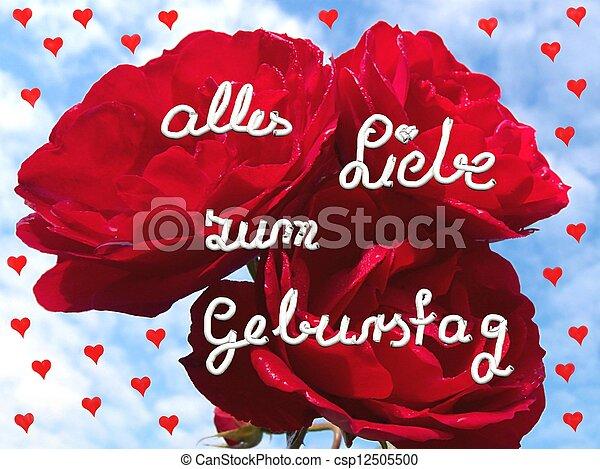 Rosa roja con corazones pequeños - csp12505500