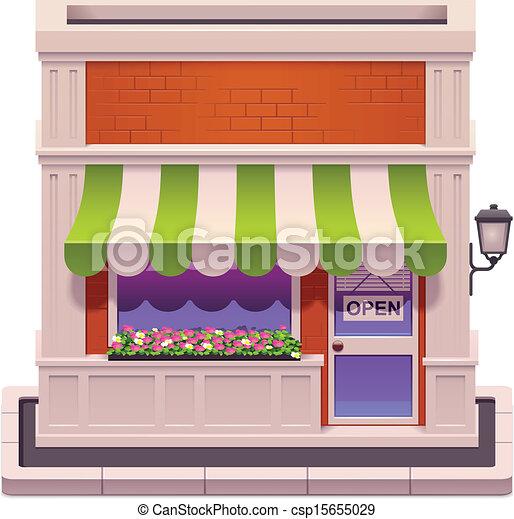 pequeño, tienda, vector, icono - csp15655029