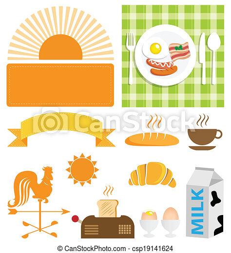 pequeno almoço, vetorial, jogo, ícone - csp19141624
