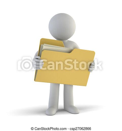pequeno, arquivos, 3d, -, pessoas - csp27062866
