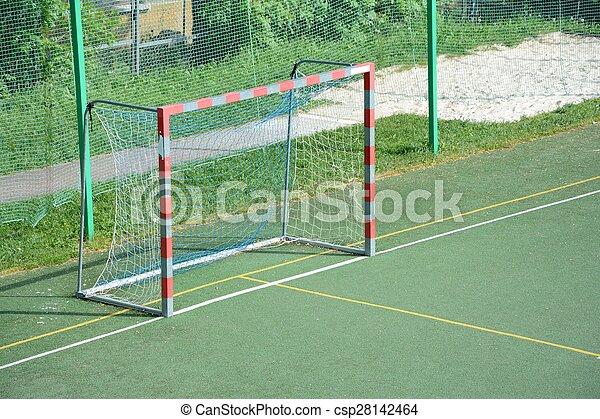 pequeno, campo, futebol, vazio, portão - csp28142464