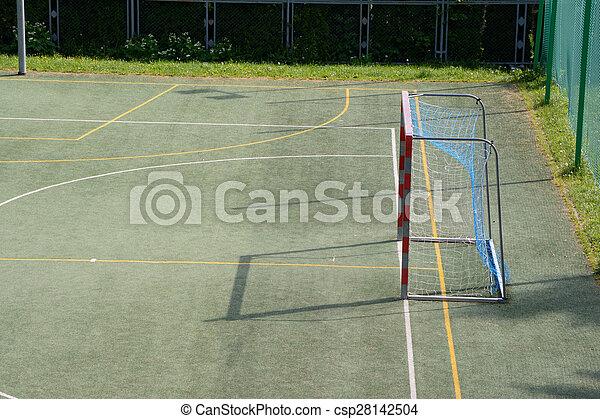 pequeno, campo, futebol, vazio, portão - csp28142504