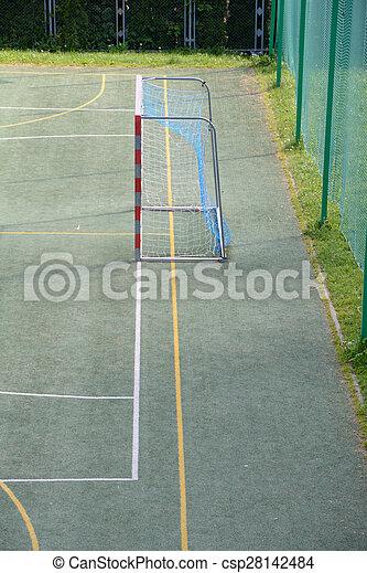 pequeno, campo, futebol, vazio, portão - csp28142484