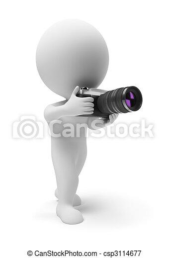 pequeno, fotógrafo, 3d, -, pessoas - csp3114677