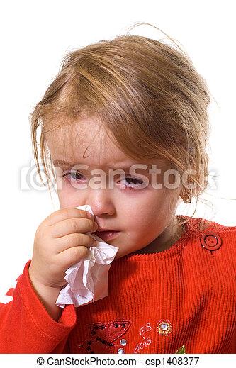 pequeno, gripe, severo, menina - csp1408377