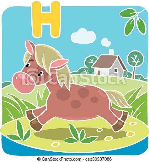 pequeno, h, pony., cavalo, alfabeto, ou - csp30337086