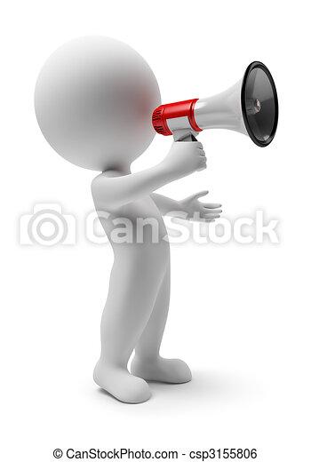 pequeno, megafone, -, 3d, pessoas - csp3155806