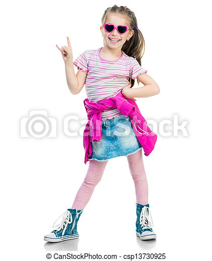 pequeno, moda, menina - csp13730925
