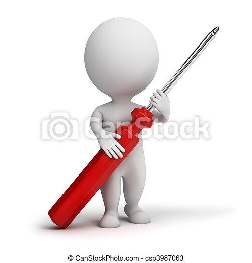pequeno, pessoas, -, 3d, chave fenda - csp3987063