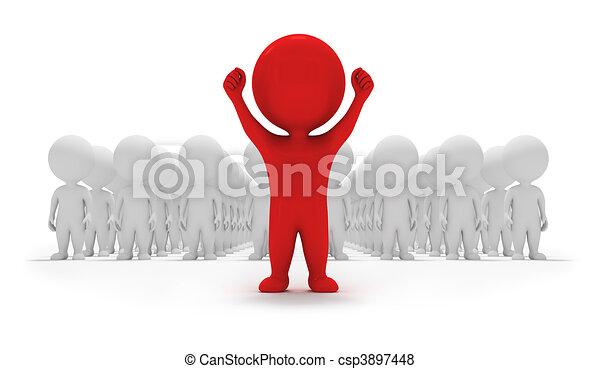 pequeno, voluntários, -, 3d, pessoas - csp3897448