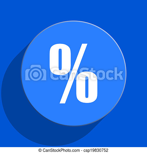 percent blue web flat icon - csp19830752