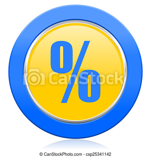 percent blue yellow icon - csp25341142