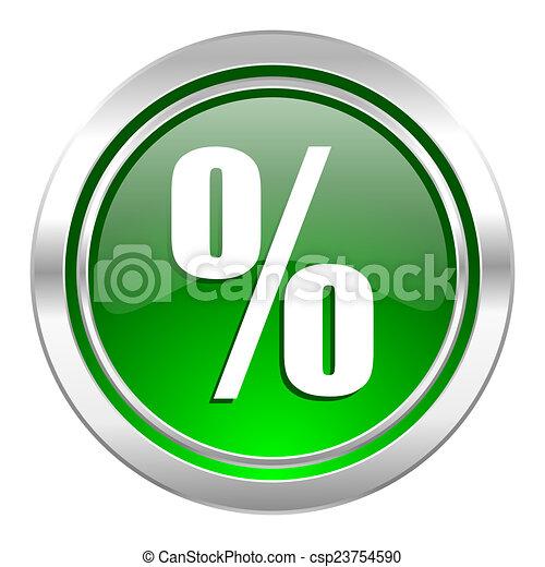 percent icon, green button - csp23754590