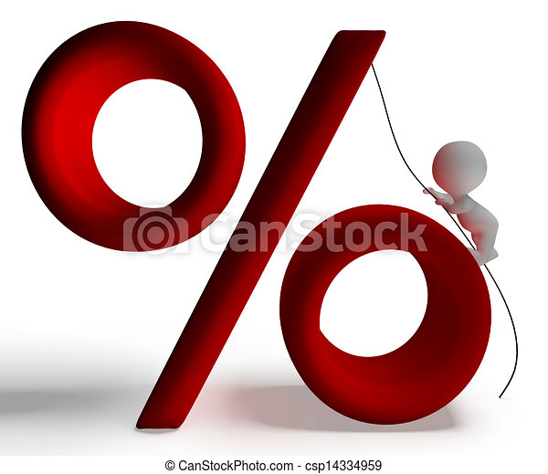 Percent Sign With 3d Man Climbing Shows Percentage - csp14334959