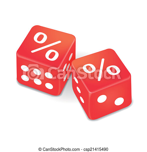 percent signs on two red dice  - csp21415490