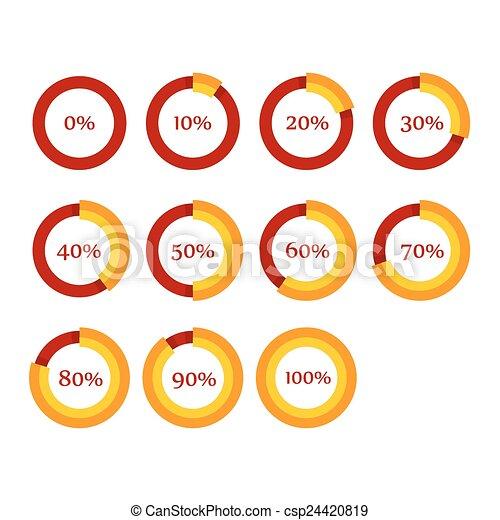 Percentage Diagram Presentation Design Elements. Infographic Chart Ring Set. Vector - csp24420819