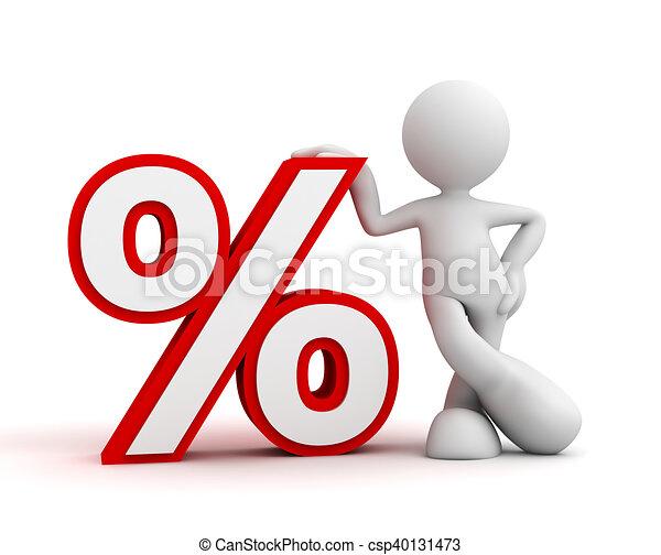 percentage sign and man concept  3d illustration - csp40131473