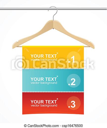 Madera para colgar abrigos como cabeza de texto. - csp16476500