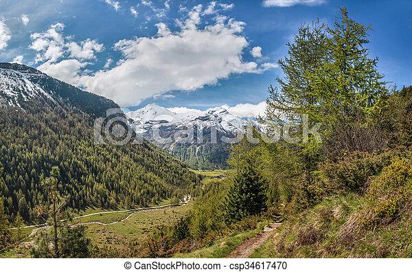 percorso montagna, tempo, valle, primavera - csp34617470