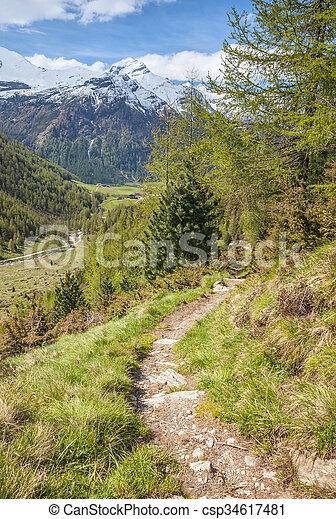 percorso montagna, tempo, valle, primavera - csp34617481