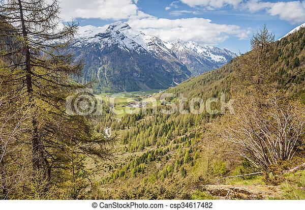 percorso montagna, tempo, valle, primavera - csp34617482