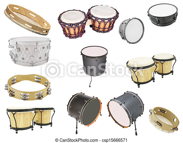 different kinds of percussion instruments isolated under the white