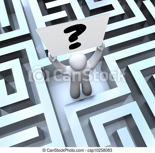 perdu, labyrinthe, question, signe, personne, tenue, labyrinthe, marque - csp10258083