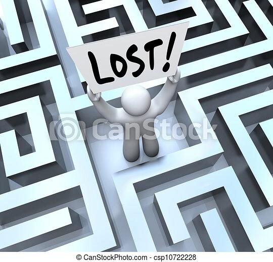 perdu, labyrinthe, signe, tenue, labyrinthe, homme - csp10722228