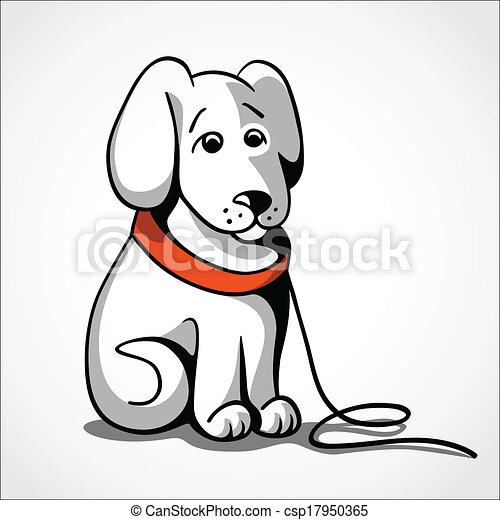 perdu, vecteur, chien, illustration, triste - csp17950365