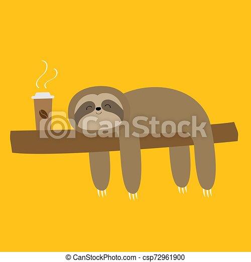 Sloth durmiendo en la rama del árbol. Un lindo y vago personaje de dibujos de Kawaii. Me encanta la copa de café. Despacio. Colección animal salvaje. Aislado. Trasfondo amarillo. Diseño plano. - csp72961900